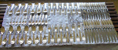 GEORG JENSEN CACTUS STERLING SILVER ESTATE SERVICE FOR TWELVE 84 PIECES 1930's