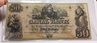 1860? Remainder Note $50 Canal Bank New Orleans