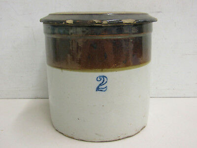 Vintage Unknown Maker #2 Stoneware Crock With Lid