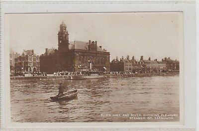 Great Yarmouth Town Hall & River Showing Pleasure Steamer RPPC P/M Yarmouth 1928