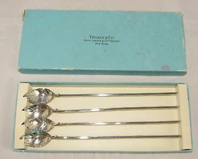 Lot of 4 Tiffany & Co Sterling Silver Mint Julep Iced Tea Sipper Stirrer Straws