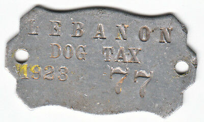 Antique 1923 Lebanon (Illinois) Dog Tax License Tag #77