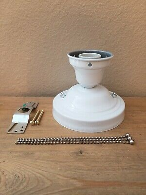 LOOK!!!  NEW WHITE 3-CHAIN LIGHT FIXTURE -VINTAGE ART DECO SHADE Three Chain