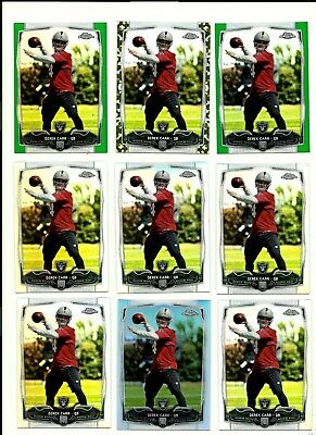 Derek Carr 14 Topps Chrome Rookie Refractor Lot x 9 Camo SP /499 Green FULL Size