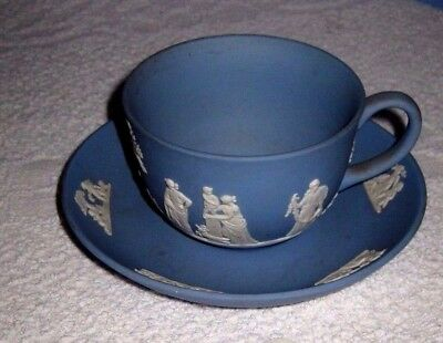 Rare Old Wedgwood Jasperware Blue Cup And Saucer