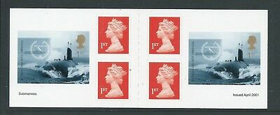 2001 Pm2 Booklet  6 X Self Adhesive Machins & Submarine Stamps Complete