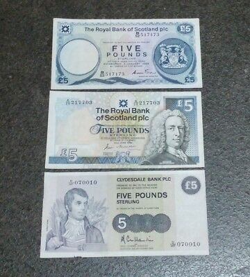 3x Five Pound Note / Scotland / Nice Condition