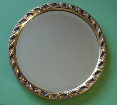 Vintage Round Bevelled Edge Gilt Mirror