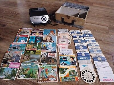 Vintage Sawyers Viewmaster 100 Deluxe Projector + Case + 63 Reels 40's thru 70's