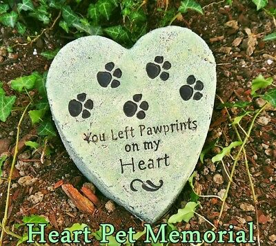 HEART SHAPED PAW PRINT Dog CAT Pet Memorial CONCRETE Garden Grave Marker HEAVY