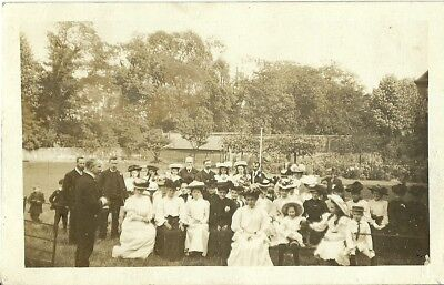 People Sitting Outside - Church Service? In Edwardian Dress Yorkshire? Rppc