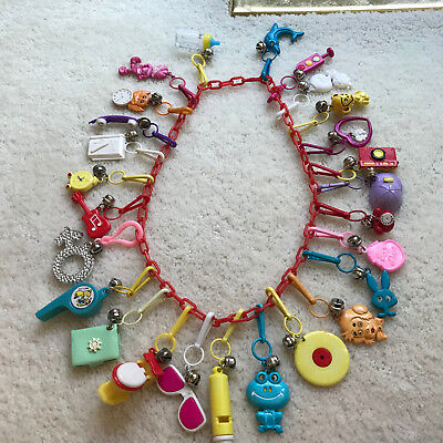 1980's Bell Clip Plastic 80's Charm Necklace With Over 25 Charms!  Lot #3