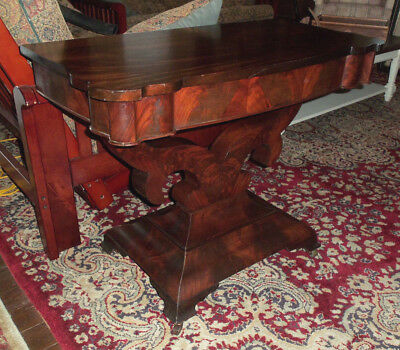"""Antique Empire Style Flame Mahogany Pier Console Table - 37"""" Wide - Pick Up"""