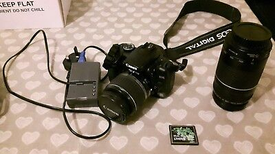 Canon EOS 400D Digital SLR Camera with18-55mm and 75-300mm Lens plus Carry Bag