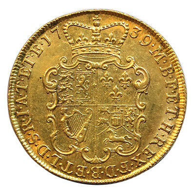 1739 Gold Two Guinea, George Ii Young Head