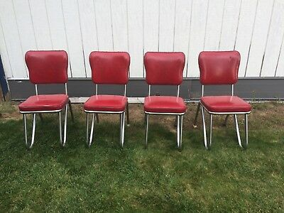 Vintage set 50's chrome dinette chairs with hairpin style legs, original red vin