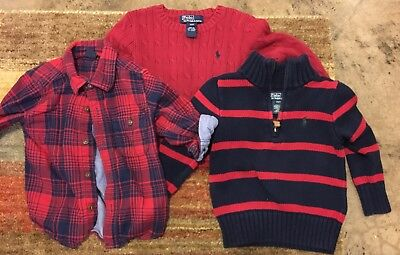 Baby Gap and Polo by Ralph Lauren Boys Size 2T Lot of Two Sweater and Flannel