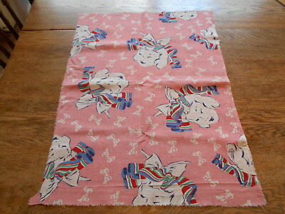 Vintage Antique Pink Feed Sack Piece Cotton 17X23 1940s Little Girl Bow In Hair