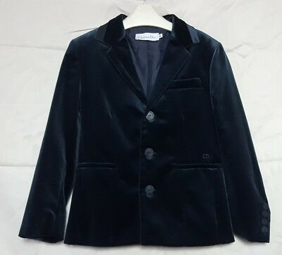 Beautiful Designer Christian Dior Boys Age 8 Dark Blue Velvet Jacket
