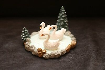 98 Mervyn's Christmas Village Square Figure 12 days of Christmas Swans on a Pond