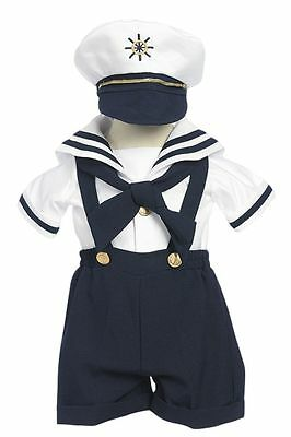 Toddler, Infant, Boy's Costume Sailor Outfit ,Navy Blue/White,Sz: Small to 4T