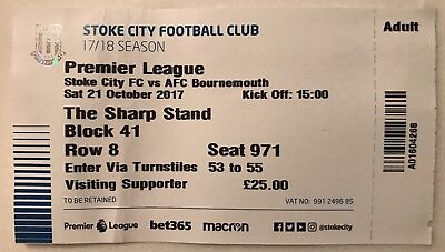 Stoke City V AFC Bournemouth Used Match Ticket Premier League 21st October 2017