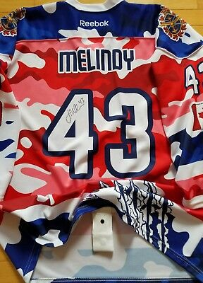 James Melindy Moncton Wildcats Game Worn Used Jersey Salute The Troops Coyotes