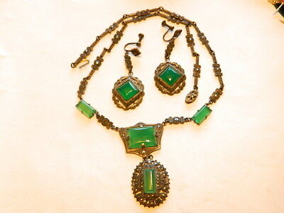 Vintage Deco Sterling Chrysoprase  Marcasite Necklace Dangle Earrings