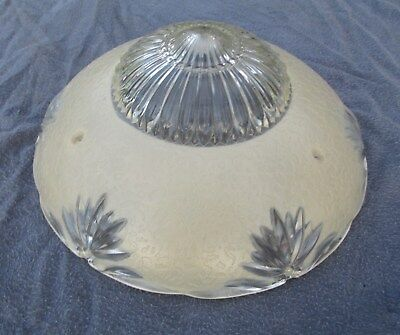 Vintage Antique Glass Chandelier Ceiling Light Fixture Shade 3 Chain Holes 10.5""