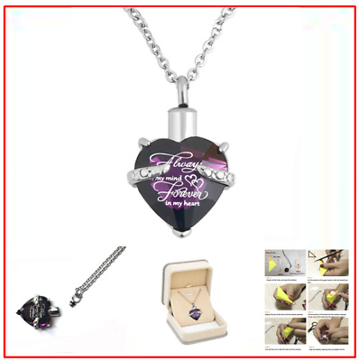 Heart Cremation Urn Necklace for Ashes Keepsake Memorial Pendant Purple w/ Box
