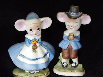 """2-Thanksgiving Pilgrims Colonial Boy And Girl Mouse Figurines 3 3/8"""" Tall"""