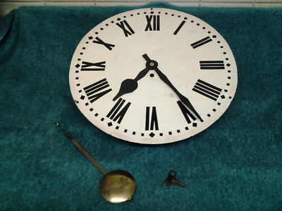 """ANTIQUE FUSEE CLOCK """"A FRAME"""" MOVEMENT & 16""""INCH DIAL + PENDULUM C1890(working )"""