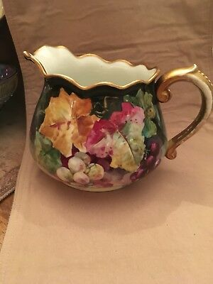 Limoges Hand Painted Cider Pitcher