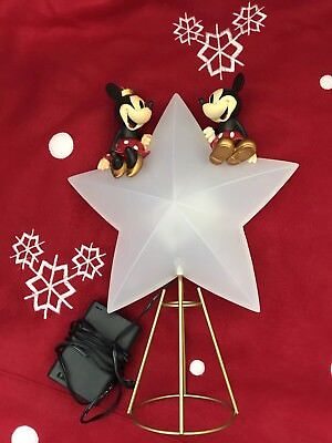 2008 Disney Store Mickey/Minnie Mouse light up Star Christmas Tree Topper! HTF!