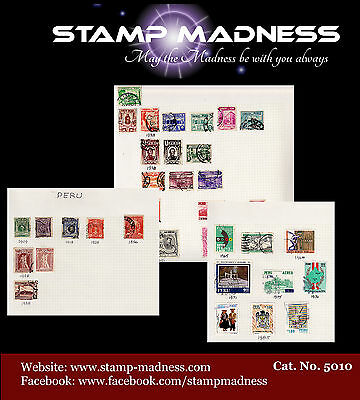 Peru Collection 1909 - 1985 Stamps are hinged on sheet bulk estate buy