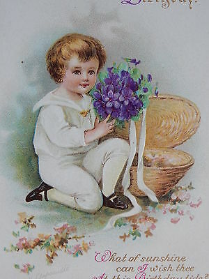 Ellen Clapsaddle Victorian Boy Holding Bouquet of Flowers Birthday Wish Postcard