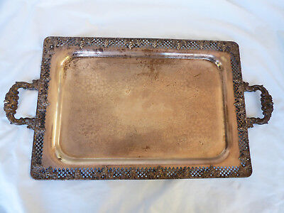 """VTG T&T Taber & Tibbits Silver Plated  25""""x13.75"""" Serving Tray Grape Pattern"""