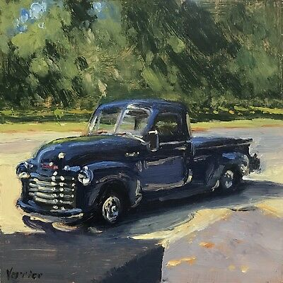 """""""'53 Chevy Truck"""" Painting A Day, Landscape, Original Oil Painting by Verrier"""