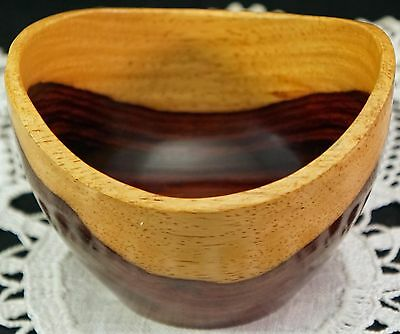 Hand Turned Bloodwood or Rosewood type Wood Wooden Bowl Light top Red bottom