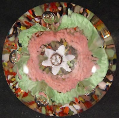 Vintage Art Glass Paperweight Bright Colors Pink Green White Forming Flower Frit