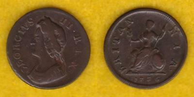 Great Britain Copper Farthing 1736 George Ii  ---  Gbct