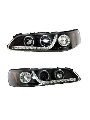 For 93-97 Corolla 1 Piece LED Dual Halo Projector Headlight Lamp Black Housing