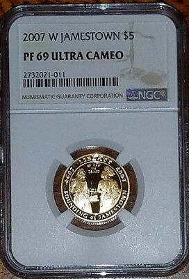 2007-W Jamestown Commemorative Gold $5  NGC PF69  Ultra Cameo        **AUCTION**