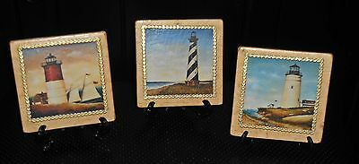 3 Beach Lighthouse Nautical Tiles With Easels Barnegat Hatteras Map