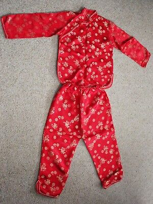 Red Silk Oriental Youth Outfit Size 12 New 2 Piece
