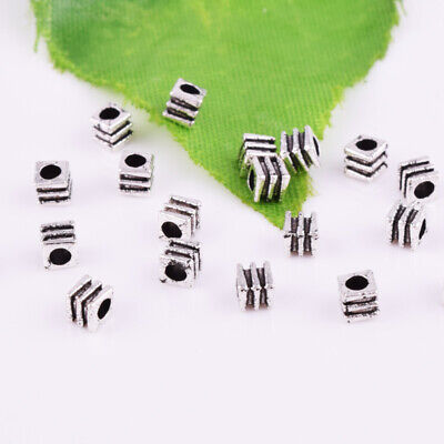 Nice 100pcs Tibetan Silver Small Cube Loose Spacer Beads Jewelry Making DIY 3mm