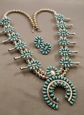 Navajo VICTOR MOSES BEGAY Turquoise Silver Necklace/Earrings SET NICE!!