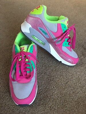 NIKE AIR MAX 90 Youth SIZE 6 Pink/Grey/Lime Running Shoes 345017-021 Athletic