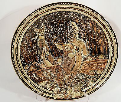 Silver Touch Copper WALL PLATE Hand Engraved  Canada Art  BUCK  DEER in  Forest