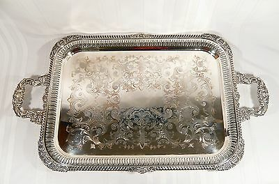 "Antique GNUN Silver Plate Sheffield Pierced Reticulated TRAY 28 1/2"" Hand Chased"